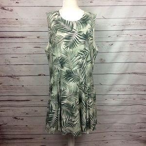 [H&M+] Tropical Palm Print Dress, Green/Off-white